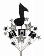 Music notes 16th birthday cake topper decoration in black and silver - free postage